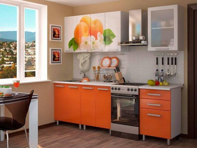 Кухонный гарнитур с фотопечатью «Персик» 1,8 метра
