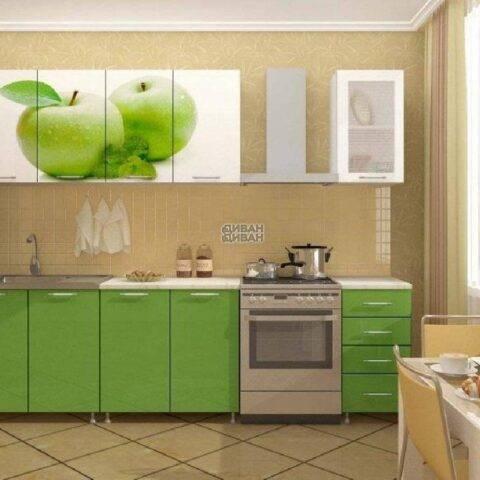 """Кухонный гарнитур с фотопечатью """"Яблоко"""" 1.8 метра"""