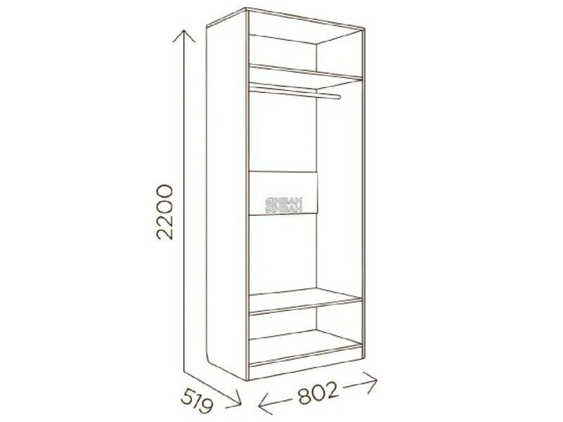 Шкаф 2-створчатый Богуслава М2 шириной 80 см.