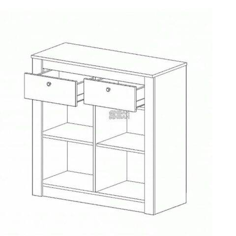 Даллас спальня Тумба с 2 двери и 2 ящика схема