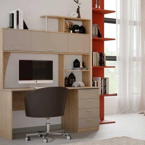 Стол компьютерный СК-11 Дуб натуральный светлый / Капучино 1