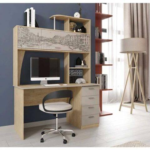 Стол компьютерный СК-11 Дуб натуральный светлый / Капучино фотопечать