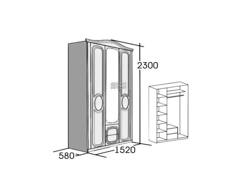 верона шкаф 3-х дверный схема