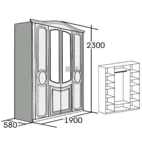 мбг верона шкаф 4-х дверный схема